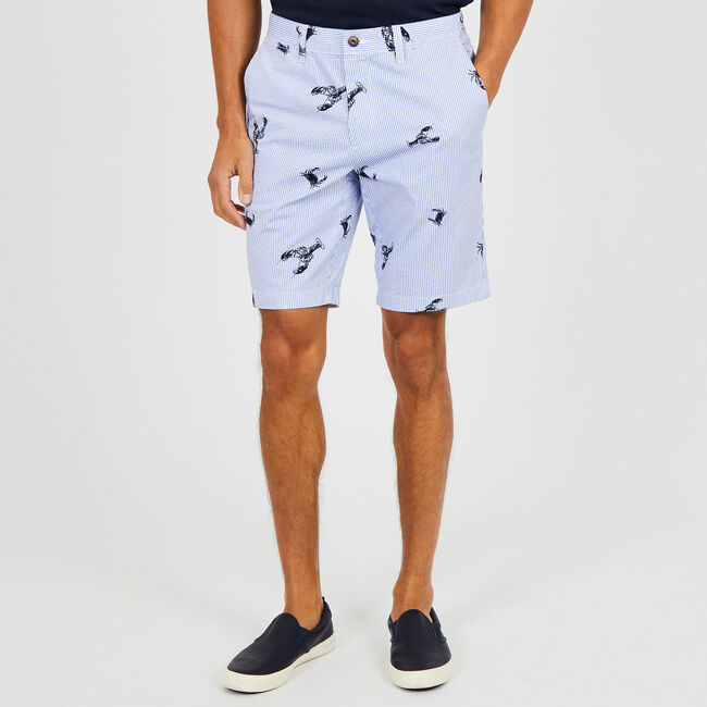 """Lobster + Striped Slim Fit Shorts - 9.5"""" Inseam,Bright White,large"""