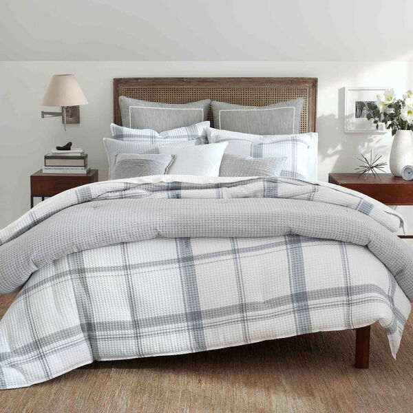 Bronwell Comforter Set in Grey Windowpane - Grey Heather