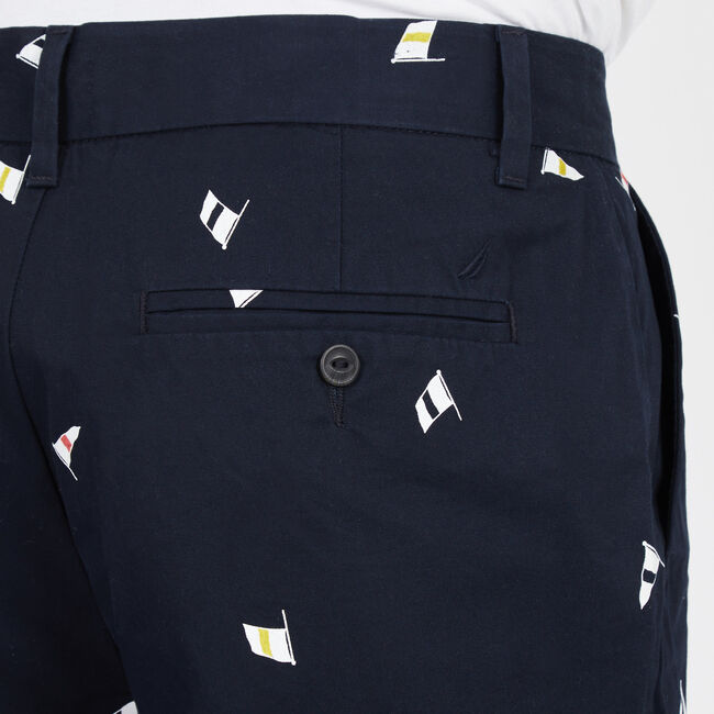 """Signal Flags Flat Front Shorts - 9.5"""" Inseam,Navy,large"""