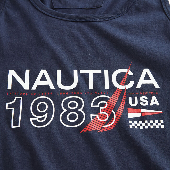 1983 USA GRAPHIC TANK TOP,Navy,large