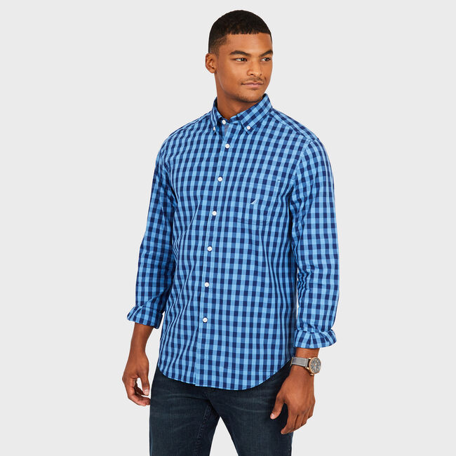 Long Sleeve Classic Fit Gingham Shirt,Riviera Blue,large