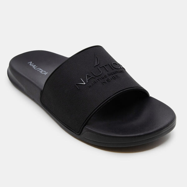 MARITIME LOGO SLIDE SANDALS - True Black