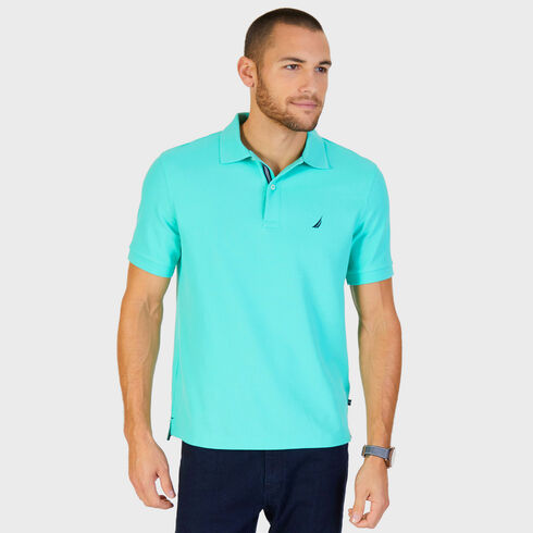Big & Tall Short Sleeve Classic Fit Pique Deck Polo - Mist Green