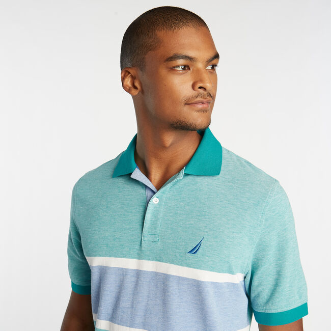 CLASSIC FIT OXFORD MESH POLO WITH CHEST STRIPE,Gulf Coast Teal,large