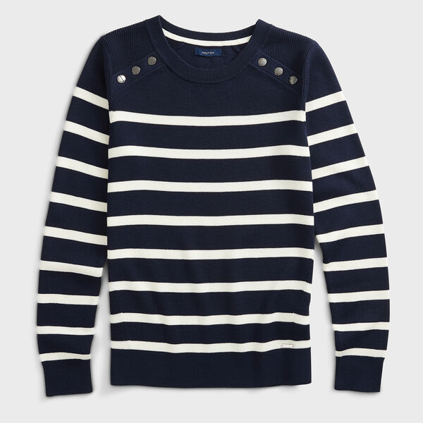 SUSTAINABLY CRAFTED STRIPED KNIT SWEATER - Stellar Blue Heather