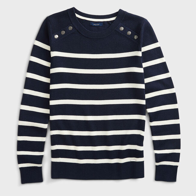 SUSTAINABLY CRAFTED STRIPED KNIT SWEATER,Stellar Blue Heather,large