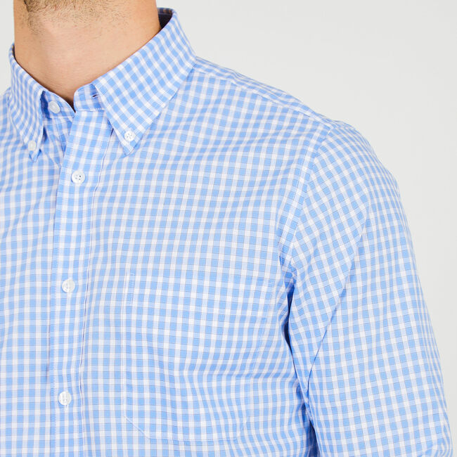 Iron-Free Check Classic Fit Long Sleeve Shirt,Aquadream,large