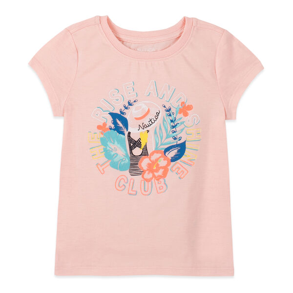 LITTLE GIRLS' RISE AND SHINE FOIL GRAPHIC T-SHIRT (4-7) - Vintage Berry