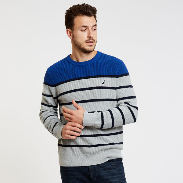 Textured Breton Stripe Crewneck Sweater - Grey Heather