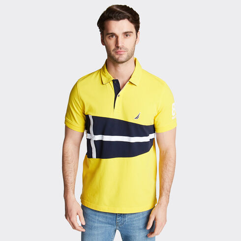 Classic Fit Jersey Polo in Flag Appliqué - Marigold