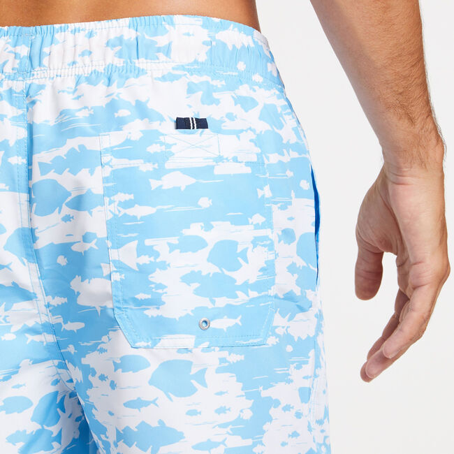 Full-Elastic Swim Trunk in Underwater Fish Print,Silver Lake Blue,large
