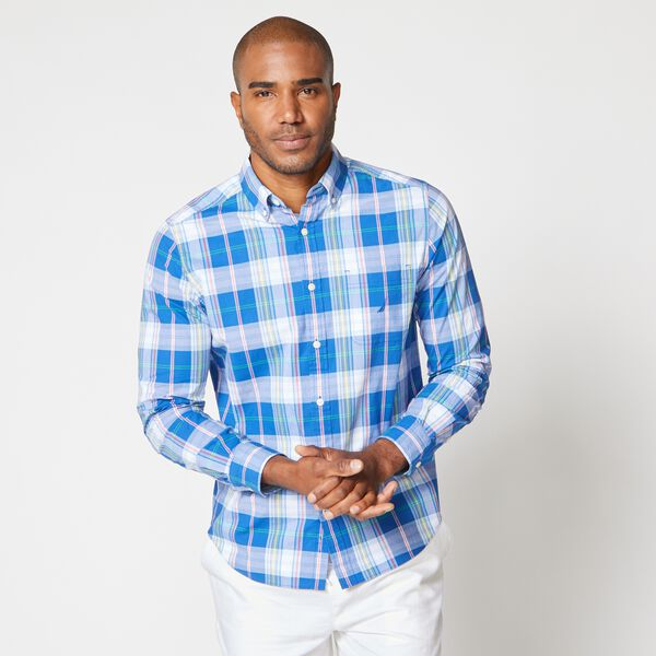 CLASSIC-FIT PLAID BUTTON-DOWN SHIRT - Windsurf Blue