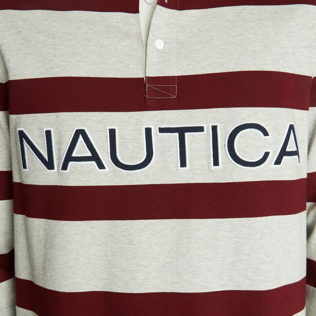 LOGO STRIPED LONG SLEEVE RUGBY,Grey Heather,large