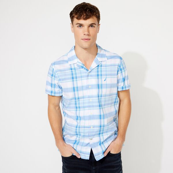 BIG & TALL CLASSIC FIT PLAID CAMP SHIRT - Clear Sky Blue