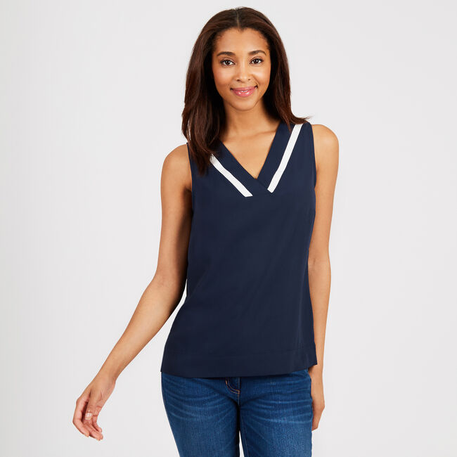 Tipped V-Neck Georgette Top,Deep Sea,large