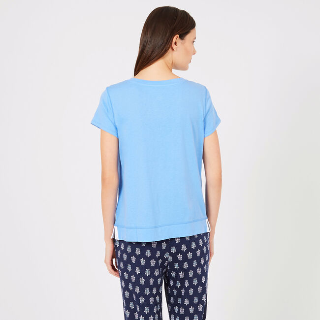 Short Sleeve Lace-Up Pajama Top,Bright Blue Jig,large