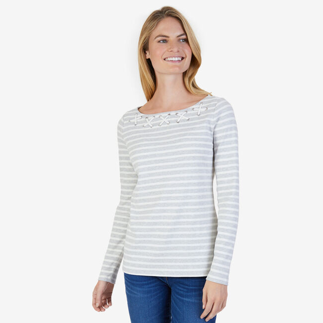 Striped Laced Neck Top,Grey,large