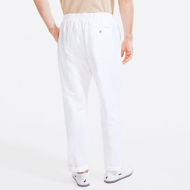 CLASSIC FIT LINEN PULL-ON PANT,Bright White,large