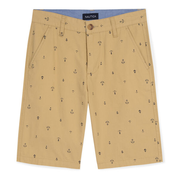 Toddler Boys' Tim Shorts in Anchor Print (2T-4T) - Dark Oatmeal Heather