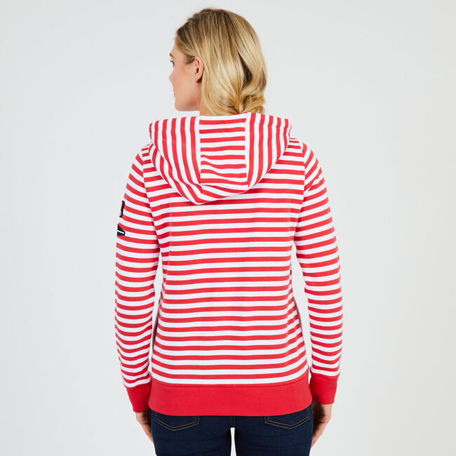 Striped Pullover Hoodie,Buoy Red,large