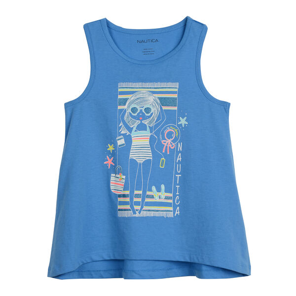 GIRLS' TANK IN TOWEL GIRL GRAPHIC - Atlantic Blue