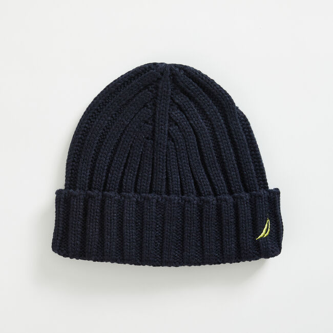 J-CLASS RIBBED-CUFF BEANIE,Navy,large