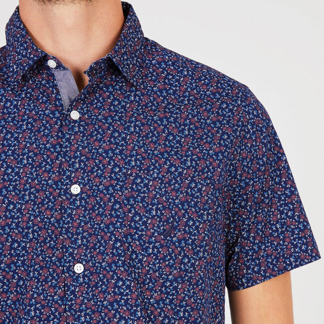 Floral + Anchor Classic Fit Short Sleeve Button Down,Monaco Blue,large
