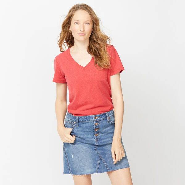 NAUTICA JEANS CO. SOLID V-NECK POCKET TEE - Cardinal
