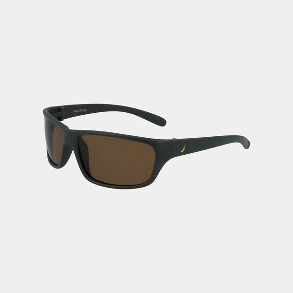 OVERSIZED WRAP SUNGLASSES - Hillside Olive