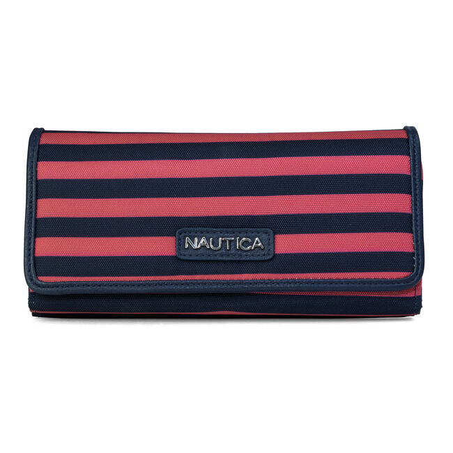 Coronado Money Manager Clutch - Coral & Navy Stripe,Flare Red,large
