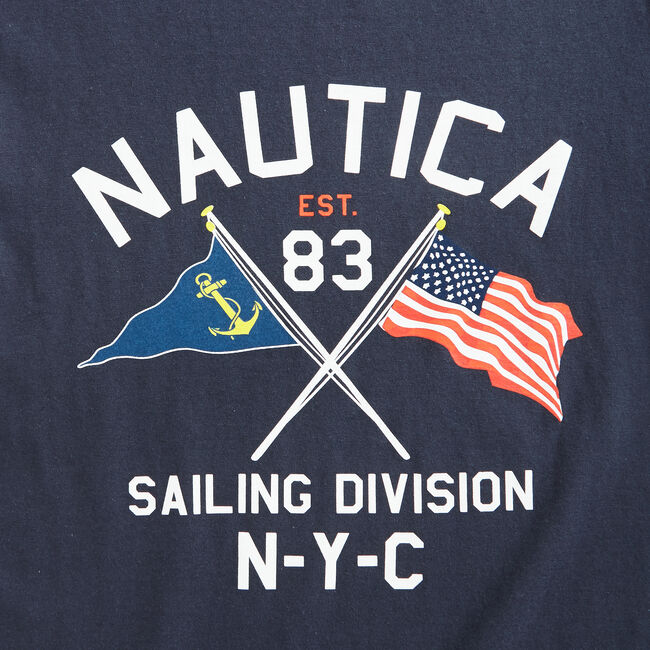 FLAG GRAPHIC T-SHIRT,Navy,large