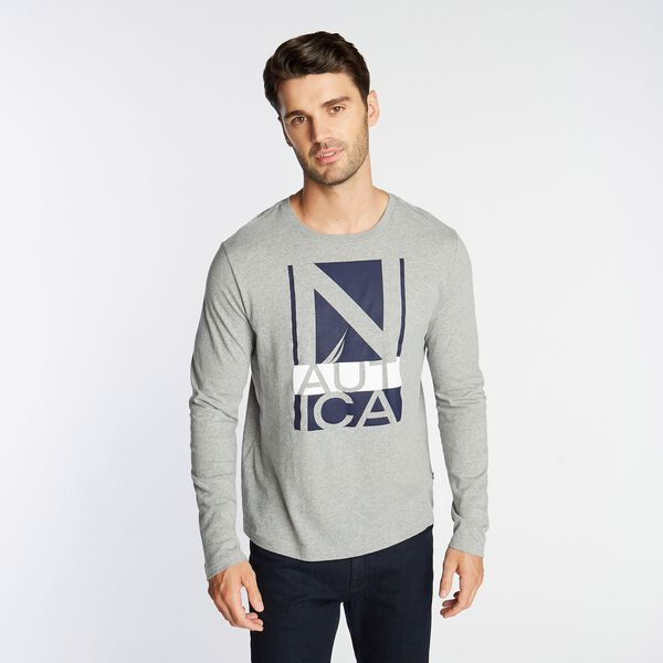 LOGO GRAPHIC LONG SLEEVE T-SHIRT - Grey Heather