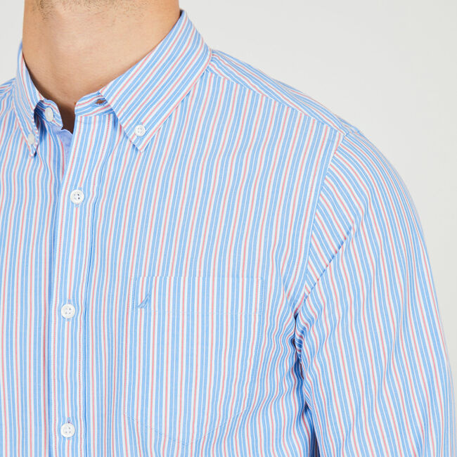 Striped Long Sleeve Slim Fit Button Down,Pure Deep B,large