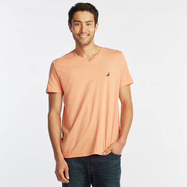 SOLID V-NECK SLIM FIT TEE - Coral Reef Heather
