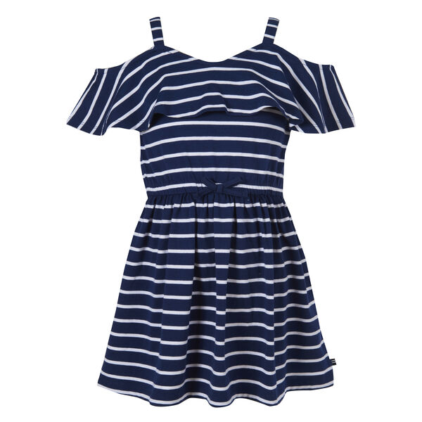 GIRLS' STRIPED COLD SHOULDER DRESS (8-20) - Aqua Isle