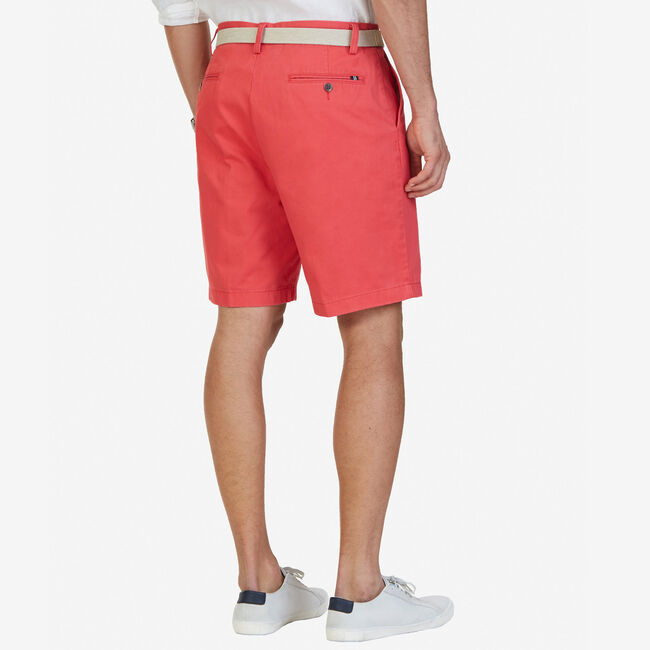 Big & Tall Flat Front Classic Fit Deck Shorts,Buoy Red,large
