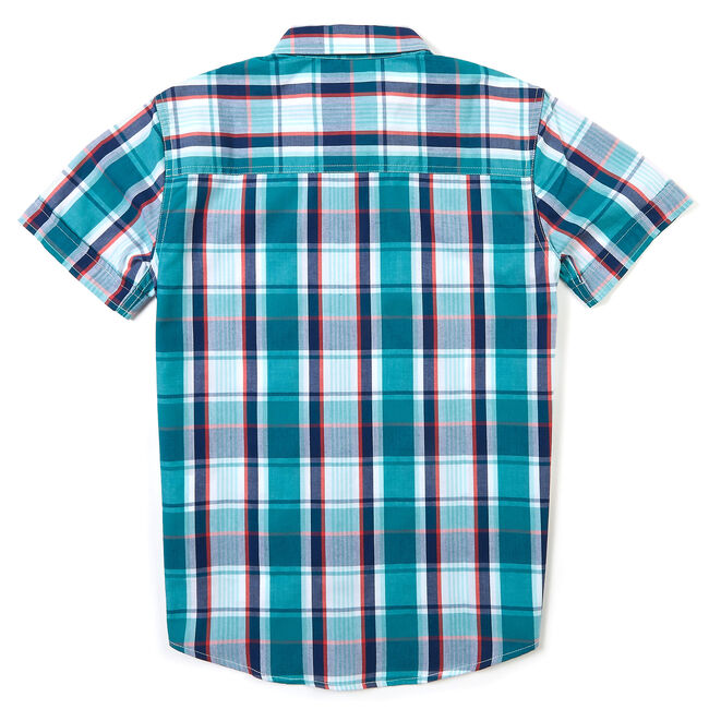 Little Boys' Short Sleeve Plaid Button-Down Shirt (4-7),Mahogany,large