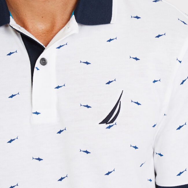 Shark Motif Short Sleeve Classic Fit Polo,Bright White,large