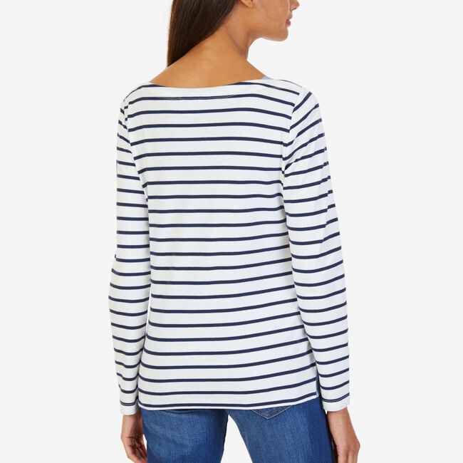 Striped Chambray Accent Top,Marshmallow,large