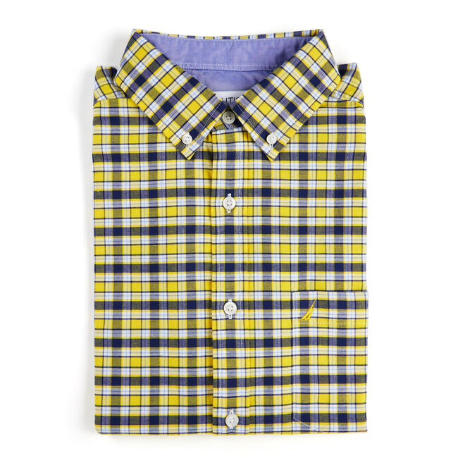 Short Sleeve Classic Fit Oxford Shirt in Plaid,Marigold,large