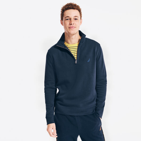 QUARTER-ZIP FRENCH-RIBBED SWEATER - Navy