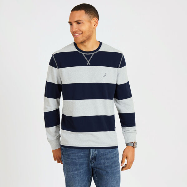Big & Tall Rugby Stripe Crewneck Pique Sweater - Grey Heather