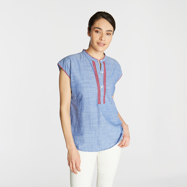 EMBROIDERED COTTON BLOUSE IN YARN DYED STRIPE,Deep Navy Heather,large