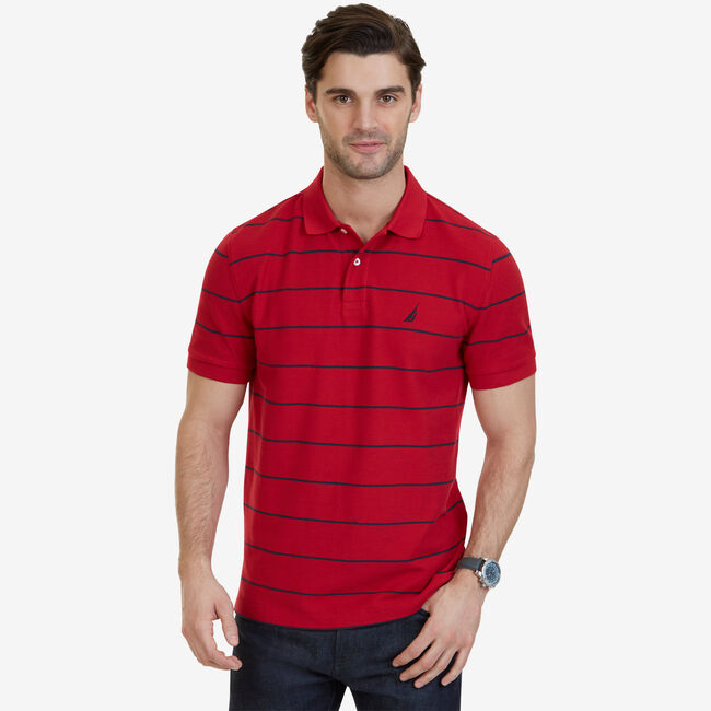 388db109 Classic Fit Striped Performance Polo Shirt,Nautica Red,large