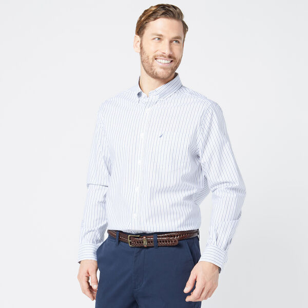 SLIM FIT WRINKLE-RESISTANT STRIPED SHIRT - J Navy