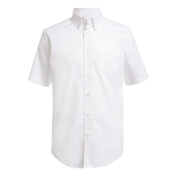 LITTLE BOYS' SHORT SLEEVE STRETCH OXFORD SHIRT (4-7) - Antique White Wash
