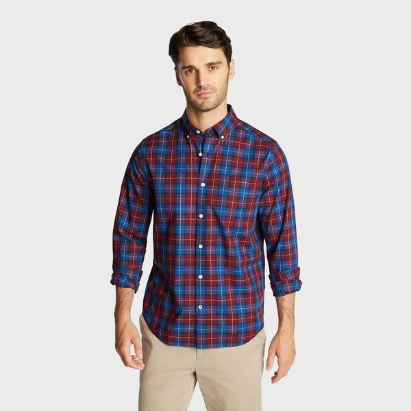 CLASSIC FIT WRINKLE RESISTANT SHIRT IN DEEP PLAID - Zinfandel