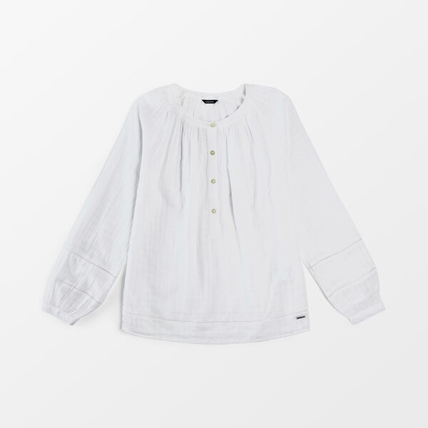 CROCHET-TRIMMED WINDOWPANE TWILL SHIRT - Bright White