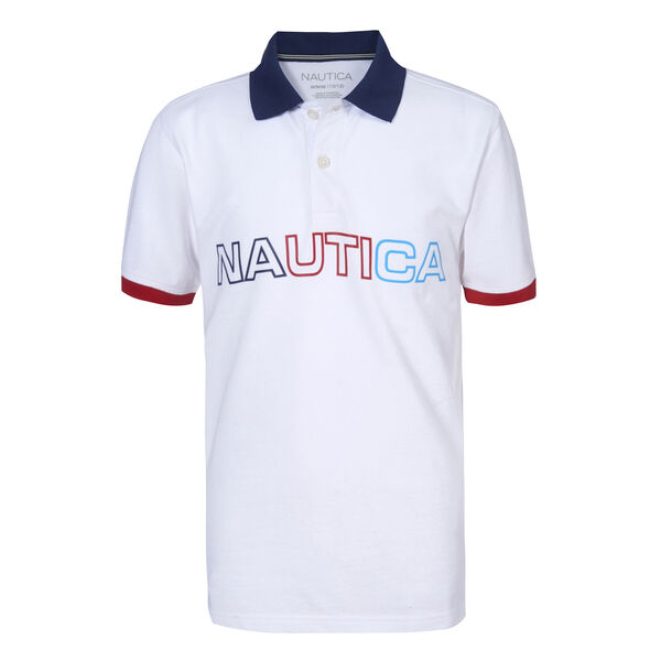 BOYS' RAY MULTICOLOR LOGO POLO (8-20) - Antique White Wash