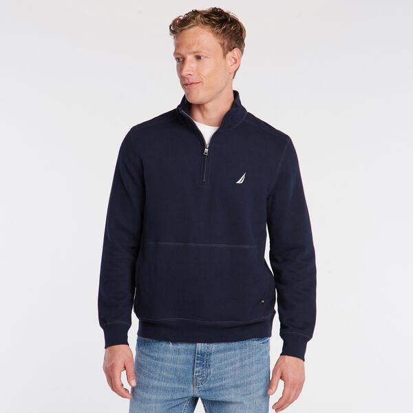 BIG & TALL QUARTER ZIP FLEECE PULLOVER - Navy